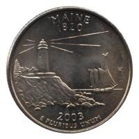 25 центов 2003 год. США. Мэн (D)
