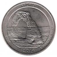 25 центов 2014 год. США. Национальный парк Арки. (P)