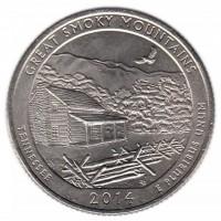 25 центов 2014 год. США. Национальный парк Грейт-Смоки-Маунтинс. (P)
