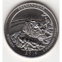 25 центов 2014 год. США. Национальный парк Шенандоа. (D)