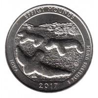 25 центов 2017 год. США. Национальный памятник Эффиджи-Маундз. (D)