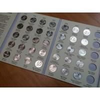 Набор монет 25 центов 2010-2016 гг. США. Национальные парки (35 штук), в альбоме.