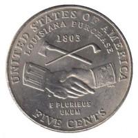 5 центов 2004 год. США. Покупка Луизианы, двор D