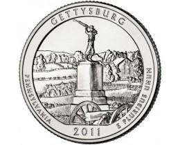 25 центов 2011 год. США. Национальный военный парк Геттисбург. (P)