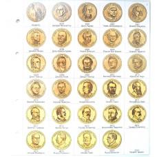 Лист картонный для 1-долларовых монет США Президенты, формат Нумис