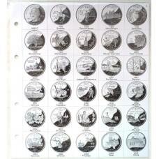 Лист картонный для 25-центовых монет США  Штаты 1999 - 2004 года, формат Нумис
