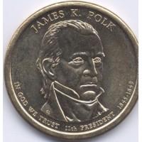1 доллар 2009 год. США. Джеймс Полк 11-й президент (P)