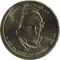 1 доллар 2010 год. США. Джеймс Бьюкенен. 15-й президент (P)