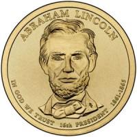 1 доллар 2010 год. США. Авраам Линкольн.16-й президент (D)