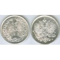 25 пенни 1916 год. Русская Финляндия. S. (Николай II)