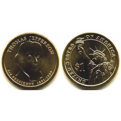1 доллар 2007 год. США. Томас Джефферсон 3-й Президент (P)