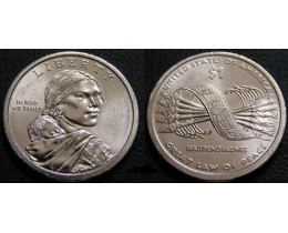 1 доллар 2010 год. США. Сакагавея. Стрелы (D)