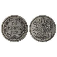 50 пенни 1908 год. Русская Финляндия. L. (Николай II)