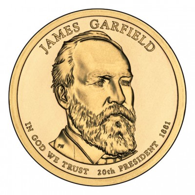 1 доллар 2011 год. США. Джеймс Гарфилд 20-й президент (D)