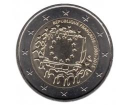 2 евро 2015 год. Франция. 30 лет флагу Европейского Сообщества.