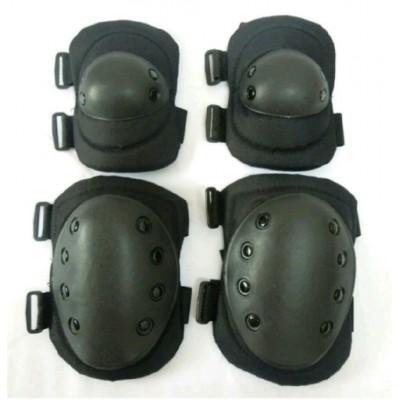 Комплект защиты наколенники+налокотники, Black