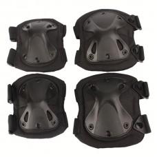 Комплект защиты наколенники+налокотники, цвет черный.