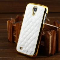 Дизайнерский чехол, белая кожа и  позолоченный хром бампер для Samsung Galaxy S4 i9500