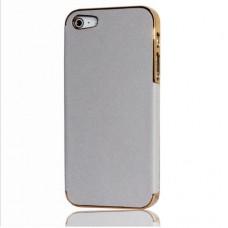Чехол на телефон APPLE Iphone 5 / 5 s белый в золотом обрамлении