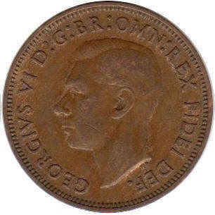 1/2 пенни 1943 год. Великобритания.